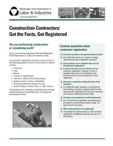 Construction Contractors - Get the Facts - Get Registered cover